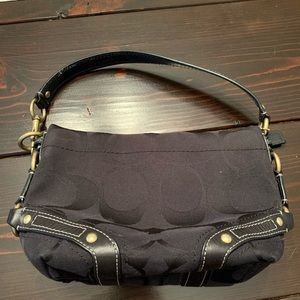 Black Canvas and Leather Coach Purse